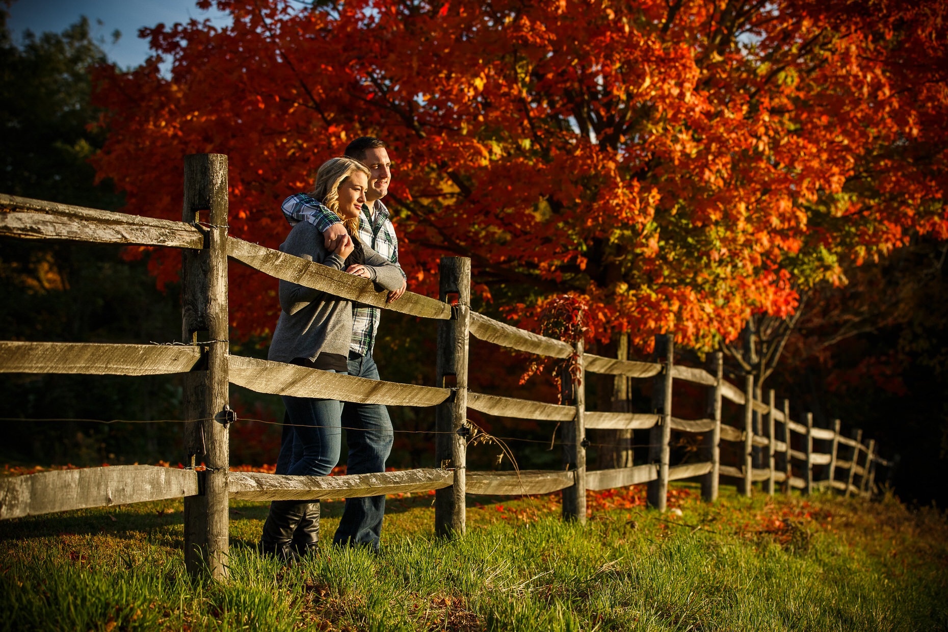 Fall Foliage Engagement Photos in New England.
