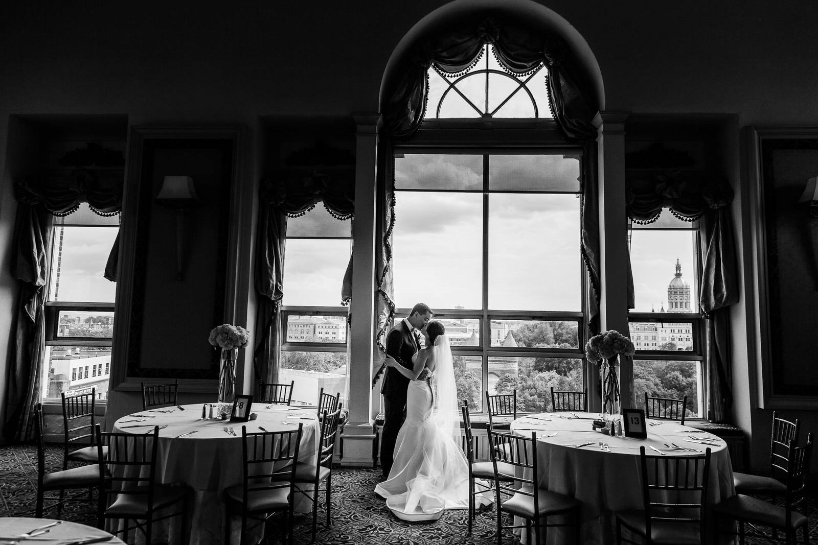 First Look Wedding Photo, Bond Ballroom, Hartford CT